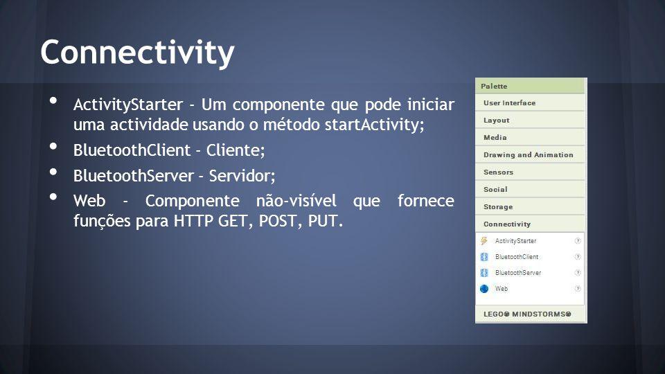 Connectivity ActivityStarter - Um componente que pode iniciar uma actividade usando o método startActivity; BluetoothClient - Cliente; BluetoothServer - Servidor; Web - Componente não-visível que fornece funções para HTTP GET, POST, PUT.