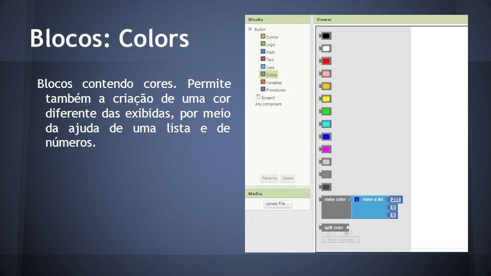 Blocos: Colors Blocos contendo cores. Permite também a criação de uma cor diferente das exibidas, por meio da ajuda de uma lista e de números.