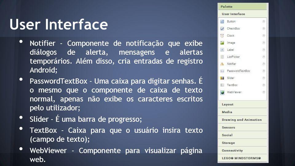 Componentes É aqui que estarão os componentes presentes no seu aplicativo (os que você arrastou para a tela).
