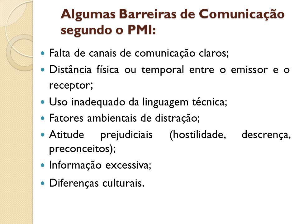 Algumas Barreiras de Comunicação segundo o PMI: Falta de canais de comunicação claros; Distância física ou temporal entre o emissor e o receptor ; Uso inadequado da linguagem técnica; Fatores ambientais de distração; Atitude prejudiciais (hostilidade, descrença, preconceitos); Informação excessiva; Diferenças culturais.