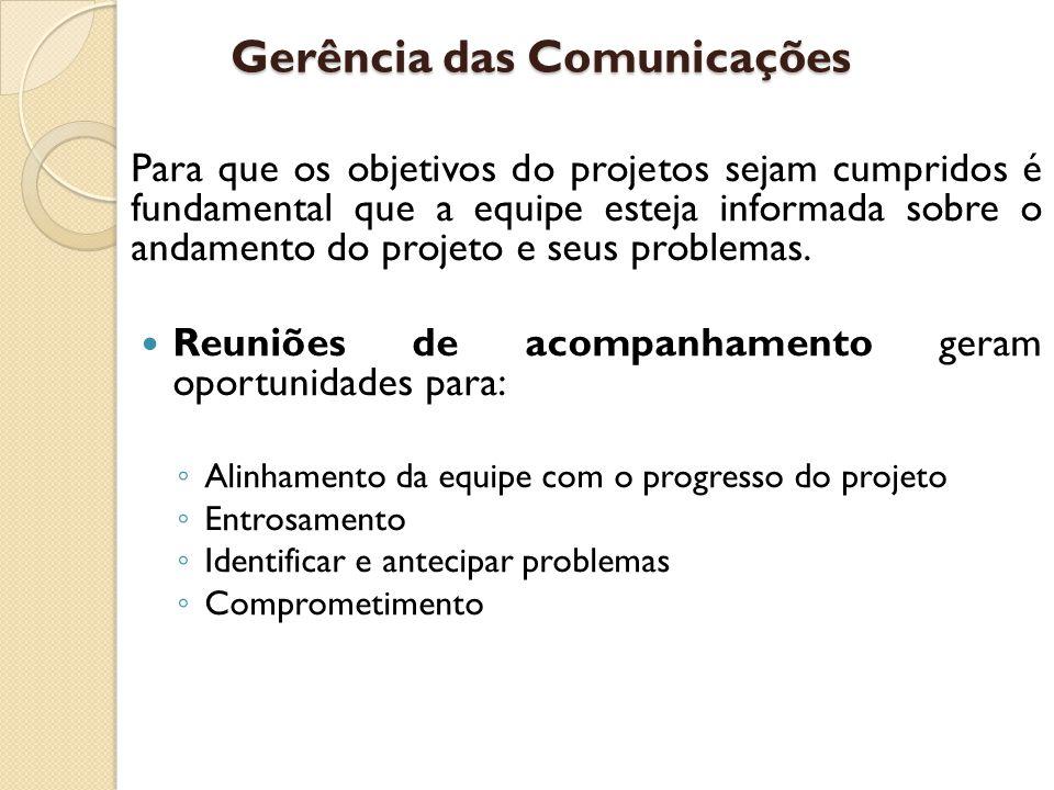 Gerência das Comunicações Para que os objetivos do projetos sejam cumpridos é fundamental que a equipe esteja informada sobre o andamento do projeto e seus problemas.