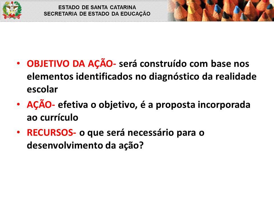 OBJETIVO DA AÇÃO- será construído com base nos elementos identificados no diagnóstico da realidade escolar AÇÃO- efetiva o objetivo, é a proposta inco