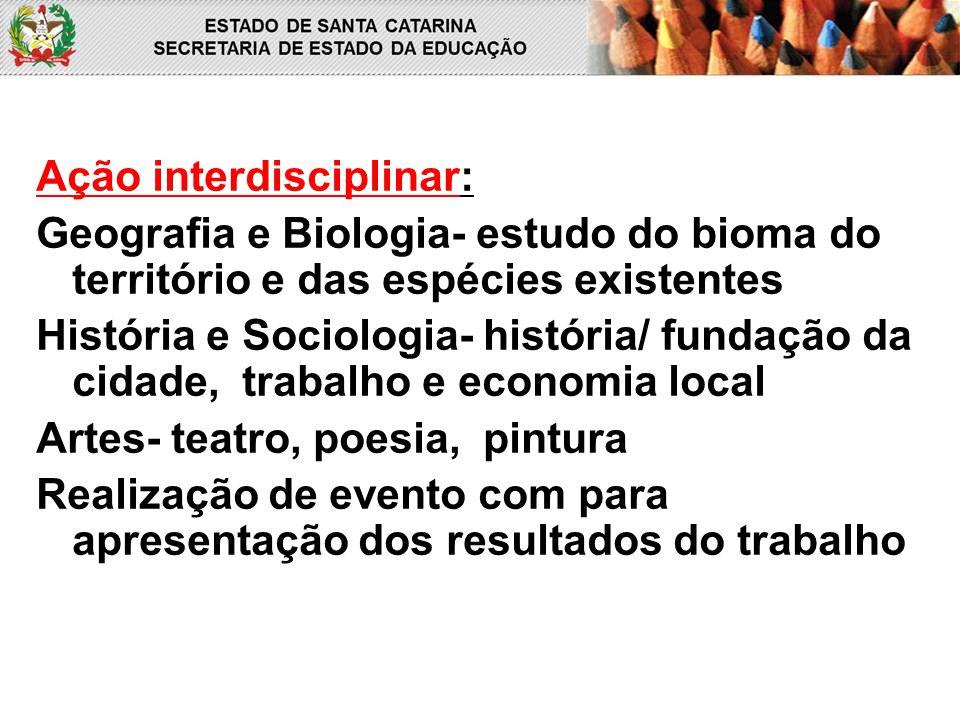 Ação interdisciplinar: Geografia e Biologia- estudo do bioma do território e das espécies existentes História e Sociologia- história/ fundação da cida