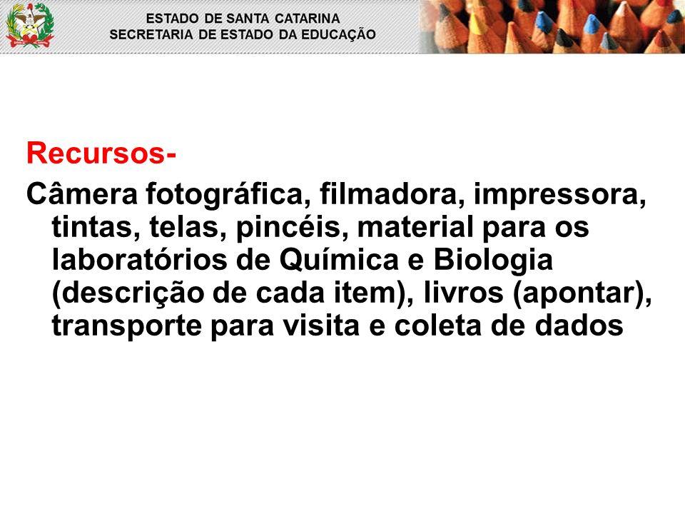 Recursos- Câmera fotográfica, filmadora, impressora, tintas, telas, pincéis, material para os laboratórios de Química e Biologia (descrição de cada it