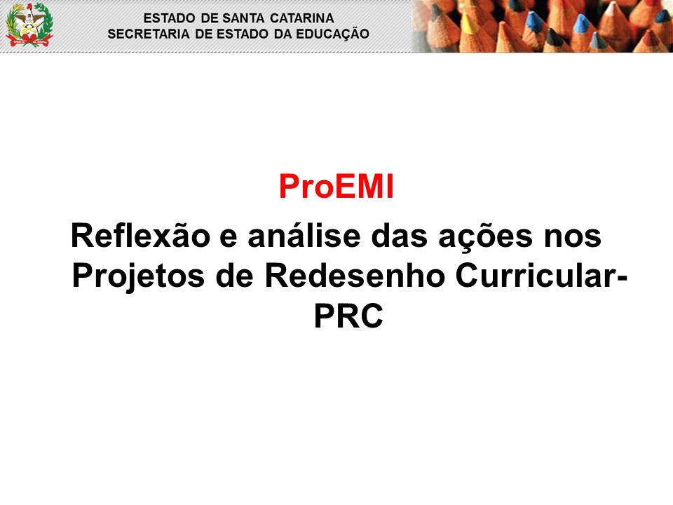 ProEMI Reflexão e análise das ações nos Projetos de Redesenho Curricular- PRC