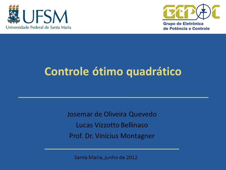 Controle ótimo quadrático Sistemas Lineares Tópicos Introdução Controle ótimo quadrático: equacionamento Escolha de Q e R Exemplo de projeto – Projeto mal feito – Projeto bem feito Simulação de um conversor Buck Conclusões 2