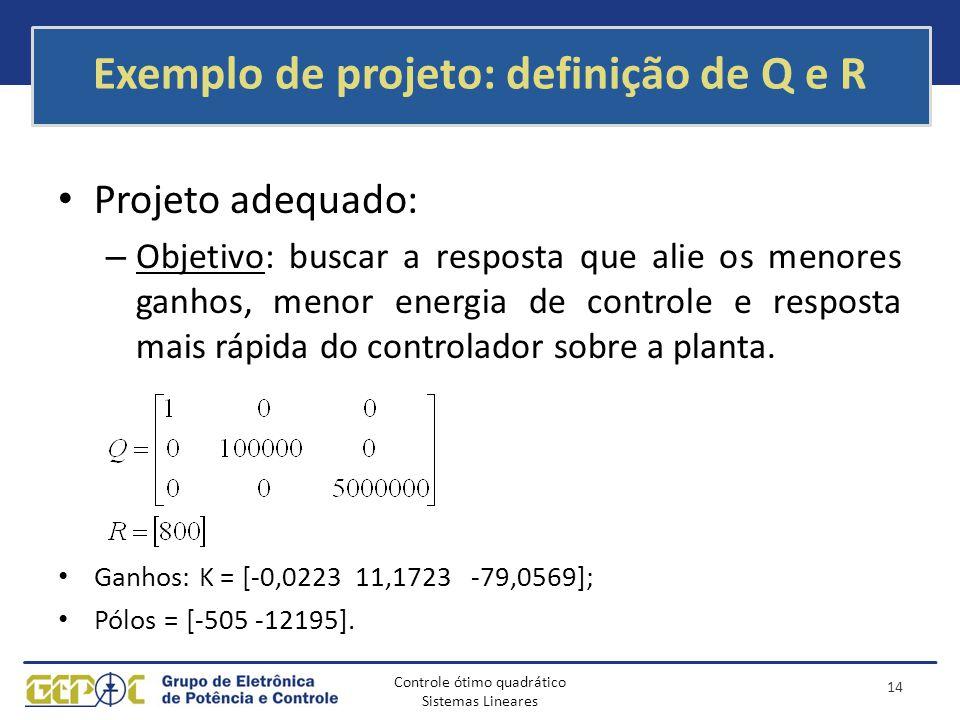 Controle ótimo quadrático Sistemas Lineares Exemplo de projeto: definição de Q e R Projeto adequado: – Objetivo: buscar a resposta que alie os menores