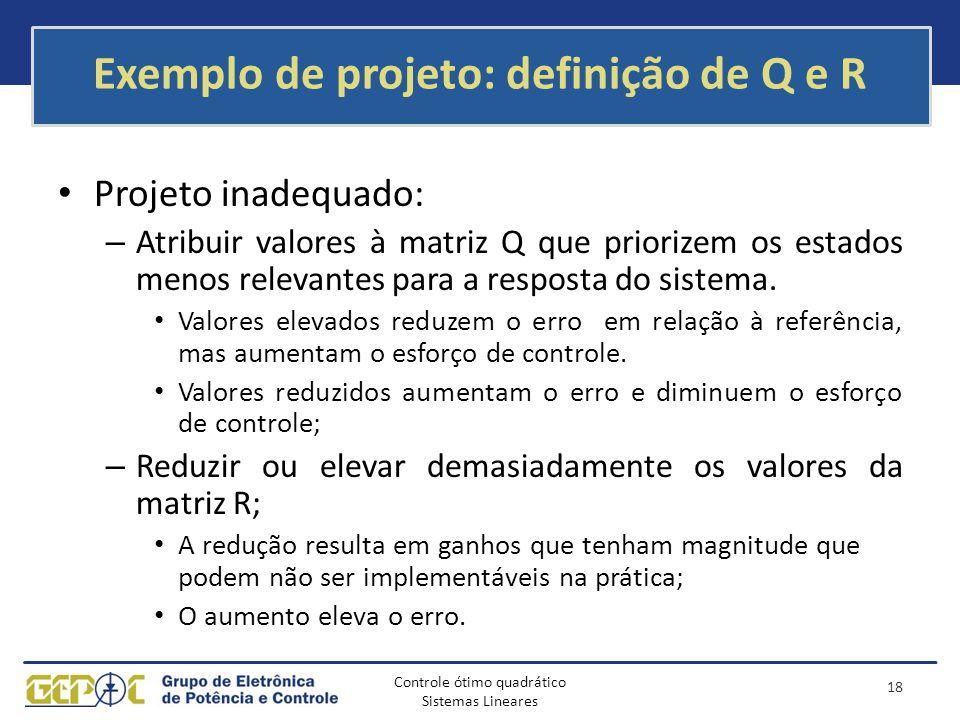 Controle ótimo quadrático Sistemas Lineares Exemplo de projeto: definição de Q e R Projeto inadequado: – Atribuir valores à matriz Q que priorizem os
