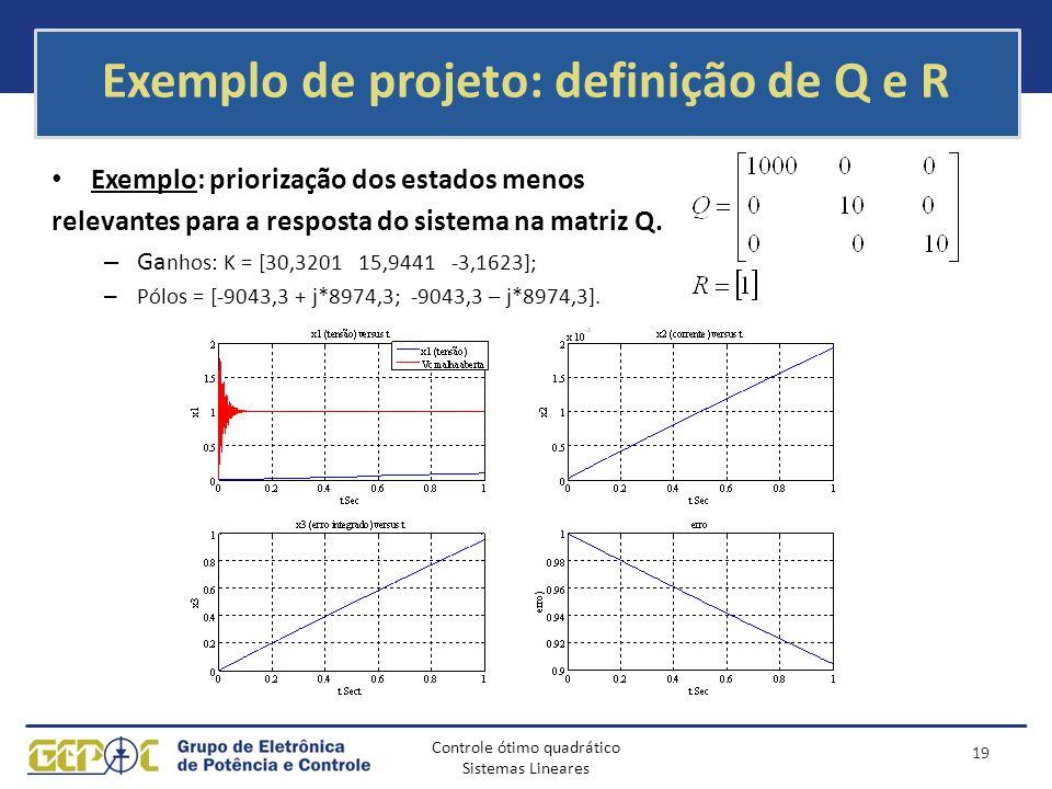 Controle ótimo quadrático Sistemas Lineares Exemplo de projeto: definição de Q e R Exemplo: priorização dos estados menos relevantes para a resposta d