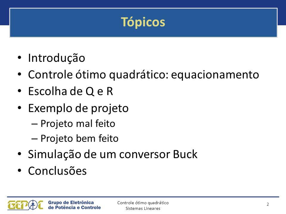 Controle ótimo quadrático Sistemas Lineares Tópicos Introdução Controle ótimo quadrático: equacionamento Escolha de Q e R Exemplo de projeto – Projeto