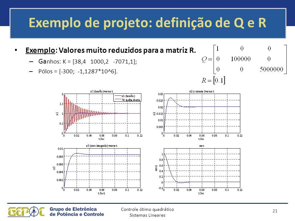 Controle ótimo quadrático Sistemas Lineares Exemplo de projeto: definição de Q e R Exemplo: Valores muito reduzidos para a matriz R. – Ga nhos: K = [3