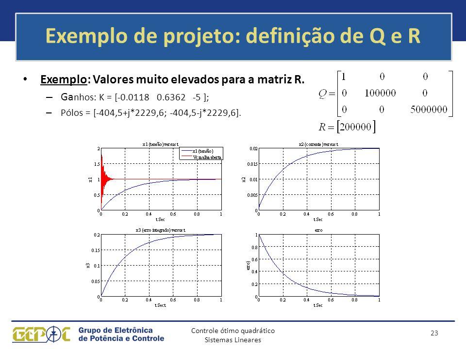 Controle ótimo quadrático Sistemas Lineares Exemplo de projeto: definição de Q e R Exemplo: Valores muito elevados para a matriz R. – Ga nhos: K = [-0