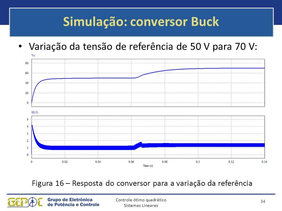 Controle ótimo quadrático Sistemas Lineares Simulação: conversor Buck Variação da tensão de referência de 50 V para 70 V: Figura 16 – Resposta do conv