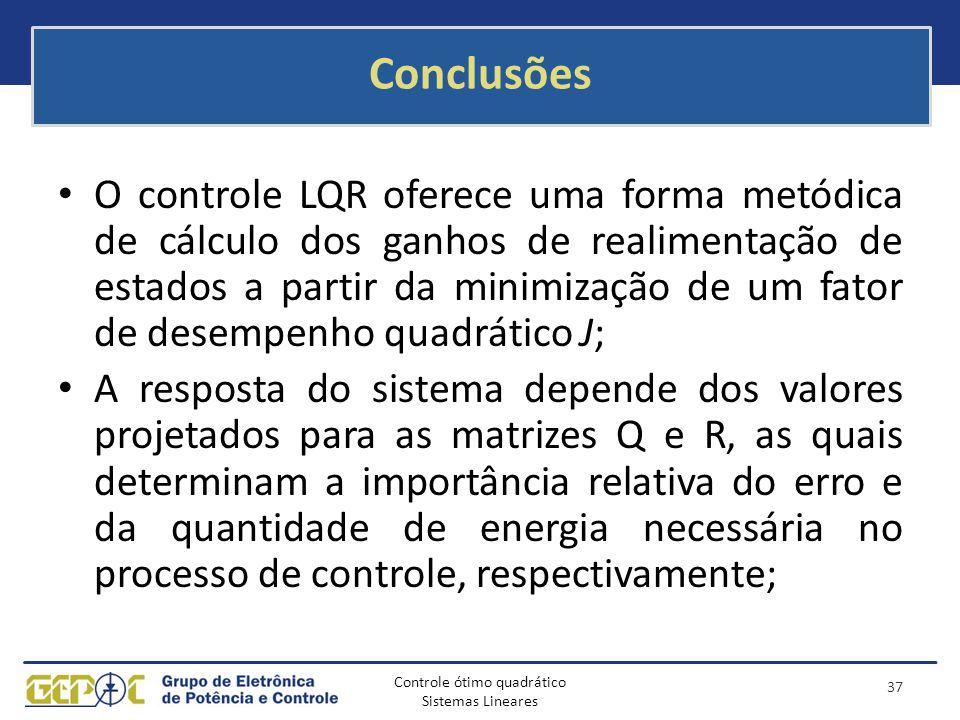 Controle ótimo quadrático Sistemas Lineares Conclusões O controle LQR oferece uma forma metódica de cálculo dos ganhos de realimentação de estados a p