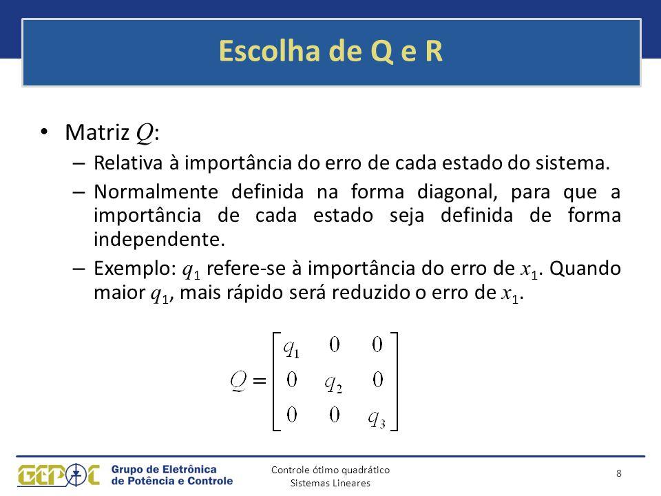 Controle ótimo quadrático Sistemas Lineares Escolha de Q e R Matriz Q : – Relativa à importância do erro de cada estado do sistema. – Normalmente defi