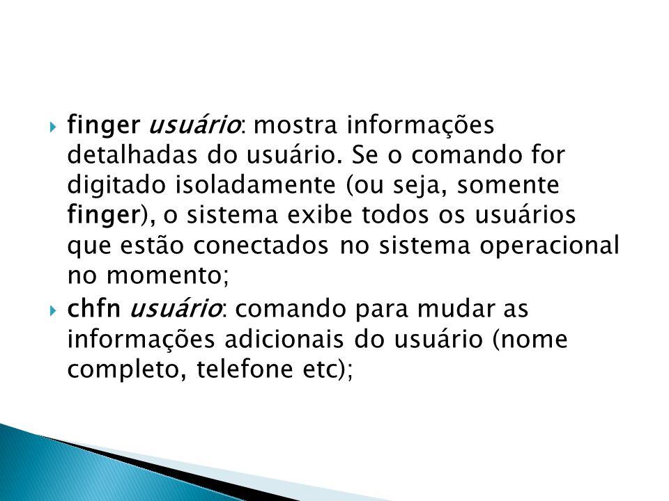  finger usuário: mostra informações detalhadas do usuário.