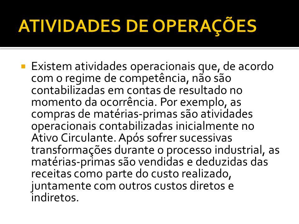  Existem atividades operacionais que, de acordo com o regime de competência, não são contabilizadas em contas de resultado no momento da ocorrência.