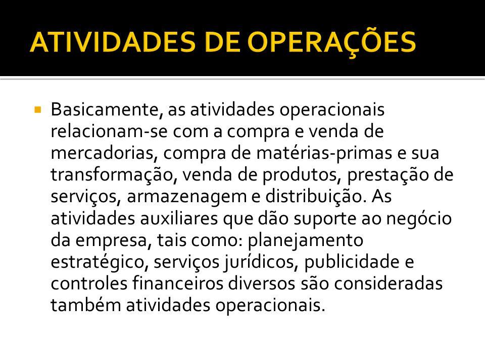  Basicamente, as atividades operacionais relacionam-se com a compra e venda de mercadorias, compra de matérias-primas e sua transformação, venda de p