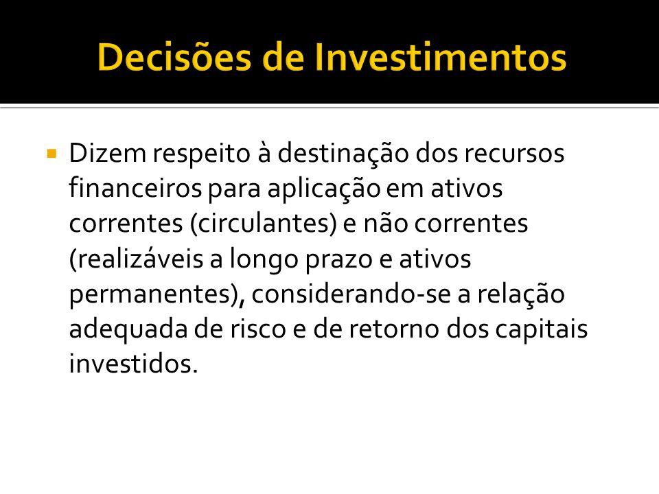  Dizem respeito à destinação dos recursos financeiros para aplicação em ativos correntes (circulantes) e não correntes (realizáveis a longo prazo e a