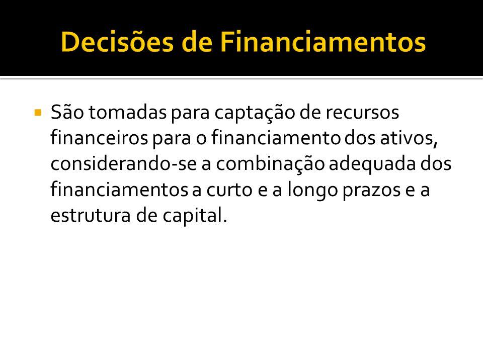  São tomadas para captação de recursos financeiros para o financiamento dos ativos, considerando-se a combinação adequada dos financiamentos a curto