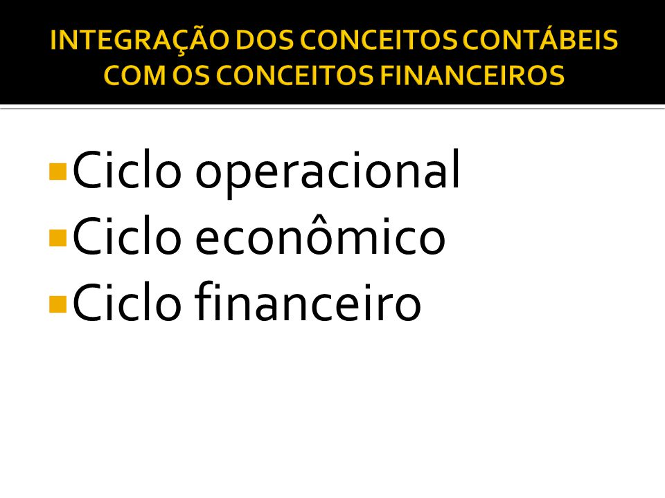  Ciclo operacional  Ciclo econômico  Ciclo financeiro