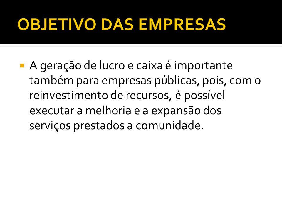  A geração de lucro e caixa é importante também para empresas públicas, pois, com o reinvestimento de recursos, é possível executar a melhoria e a ex