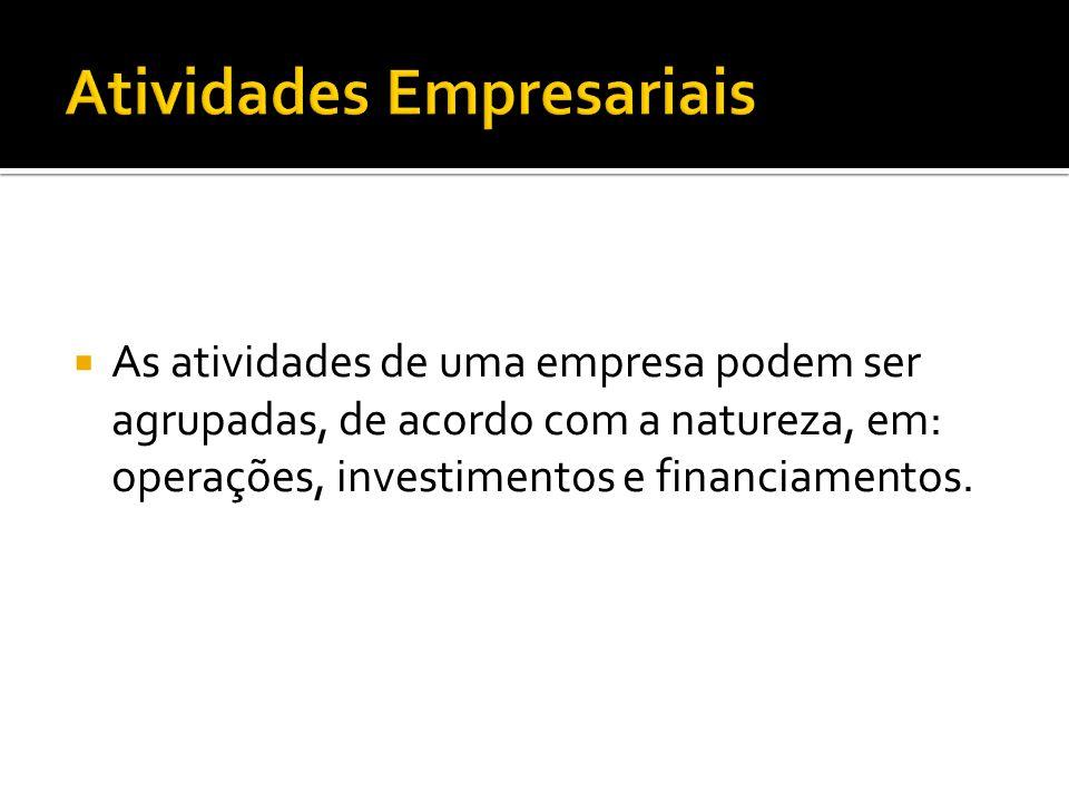  As atividades de uma empresa podem ser agrupadas, de acordo com a natureza, em: operações, investimentos e financiamentos.