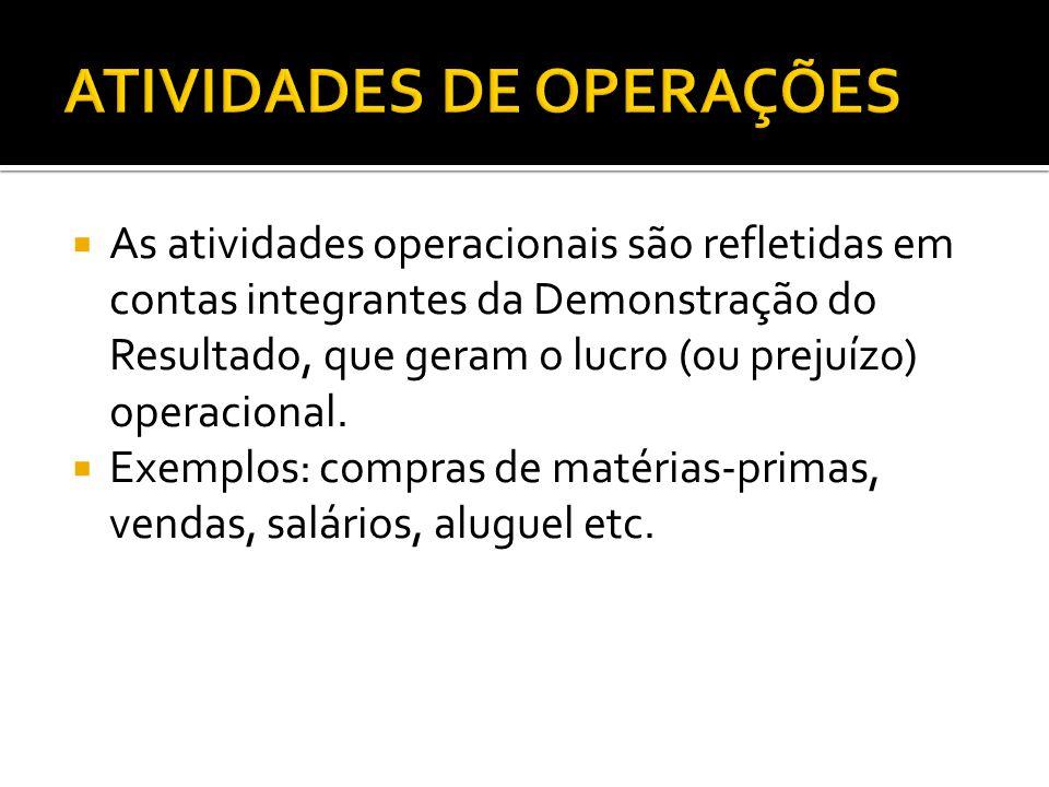  As atividades operacionais são refletidas em contas integrantes da Demonstração do Resultado, que geram o lucro (ou prejuízo) operacional.  Exemplo
