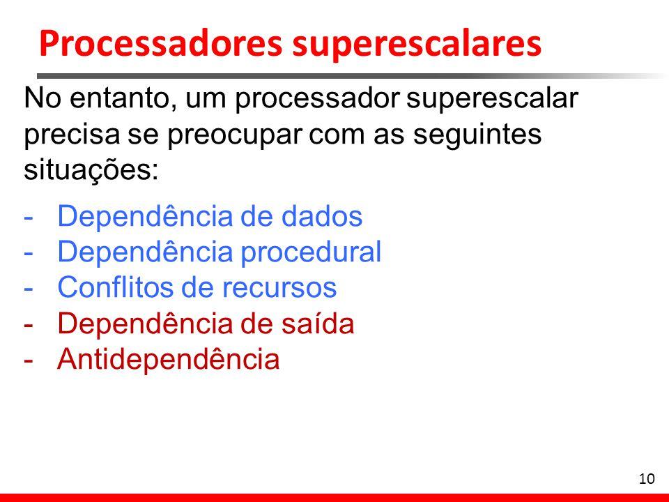 10 No entanto, um processador superescalar precisa se preocupar com as seguintes situações: -Dependência de dados -Dependência procedural -Conflitos d
