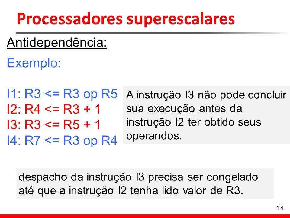 Processadores superescalares 14 Antidependência: Exemplo: I1: R3 <= R3 op R5 I2: R4 <= R3 + 1 I3: R3 <= R5 + 1 I4: R7 <= R3 op R4 A instrução I3 não p