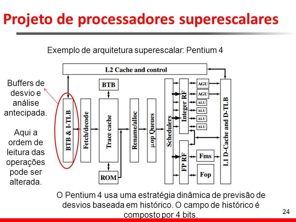 Projeto de processadores superescalares 25 Exemplo de arquitetura superescalar: Pentium 4 O decodificador traduz cada instrução para até 4 micro-ops (instruções RISC, cada uma com 118 bits)