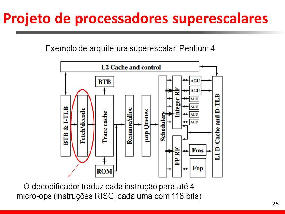 Projeto de processadores superescalares 25 Exemplo de arquitetura superescalar: Pentium 4 O decodificador traduz cada instrução para até 4 micro-ops (
