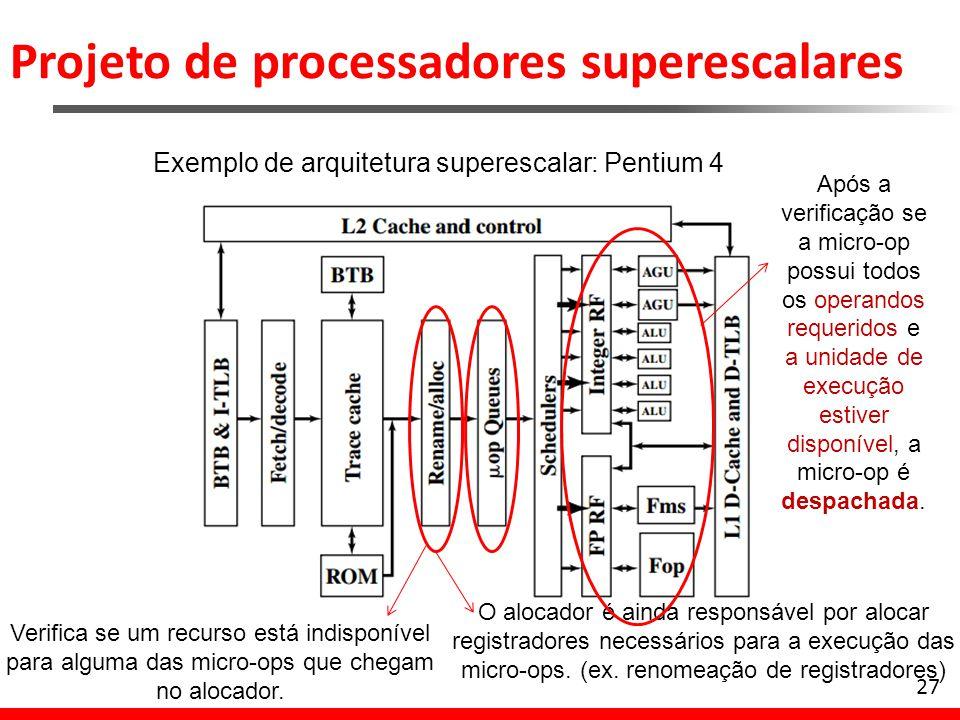 Projeto de processadores superescalares 27 Exemplo de arquitetura superescalar: Pentium 4 Verifica se um recurso está indisponível para alguma das mic