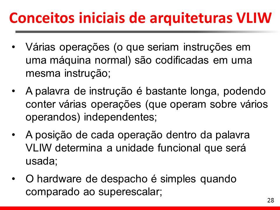 Conceitos iniciais de arquiteturas VLIW 28 Várias operações (o que seriam instruções em uma máquina normal) são codificadas em uma mesma instrução; A