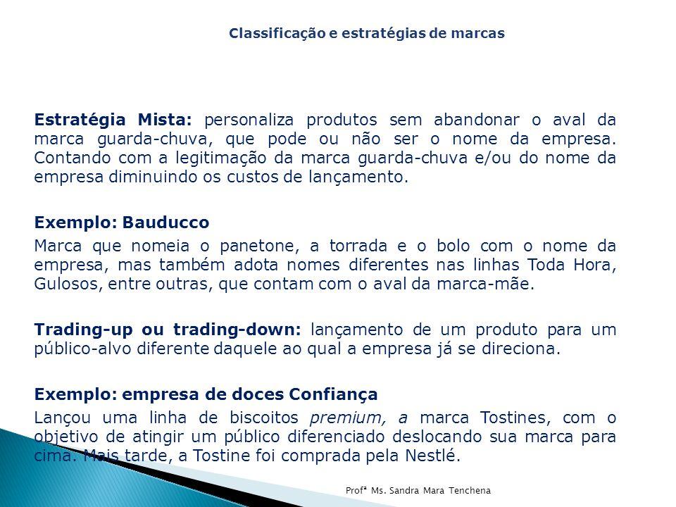 Estratégia Mista: personaliza produtos sem abandonar o aval da marca guarda-chuva, que pode ou não ser o nome da empresa. Contando com a legitimação d