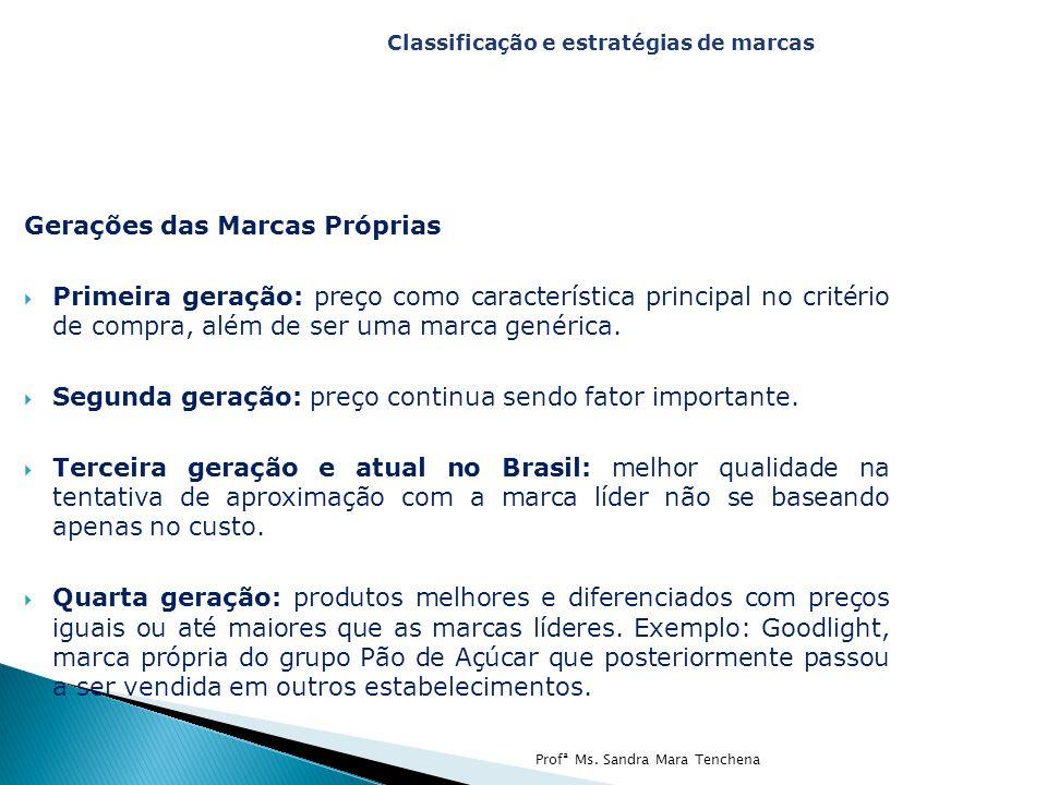 Gerações das Marcas Próprias  Primeira geração: preço como característica principal no critério de compra, além de ser uma marca genérica.  Segunda