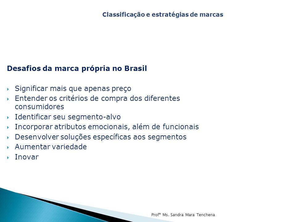 Desafios da marca própria no Brasil  Significar mais que apenas preço  Entender os critérios de compra dos diferentes consumidores  Identificar seu segmento-alvo  Incorporar atributos emocionais, além de funcionais  Desenvolver soluções específicas aos segmentos  Aumentar variedade  Inovar Classificação e estratégias de marcas Profª Ms.