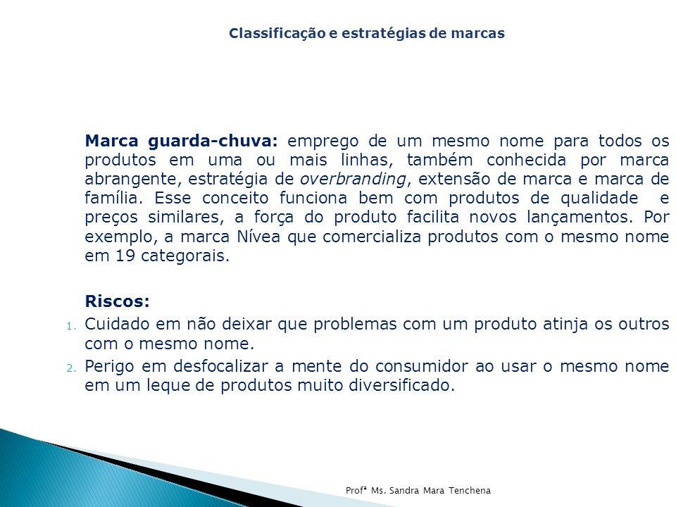 Marca guarda-chuva: emprego de um mesmo nome para todos os produtos em uma ou mais linhas, também conhecida por marca abrangente, estratégia de overbranding, extensão de marca e marca de família.