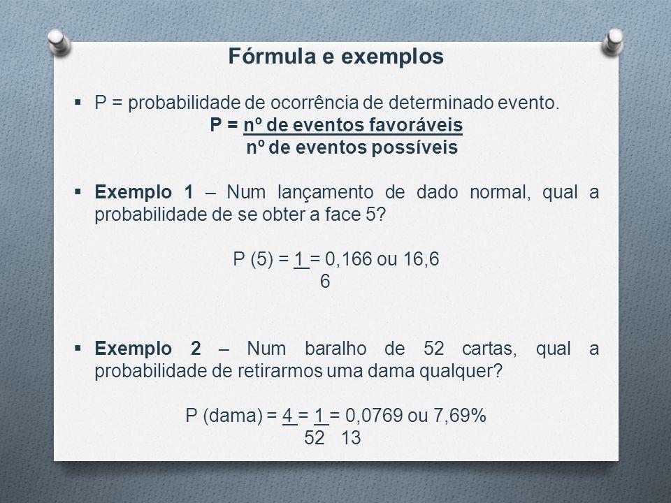 Fórmula e exemplos  P = probabilidade de ocorrência de determinado evento. P = nº de eventos favoráveis nº de eventos possíveis  Exemplo 1 – Num lan