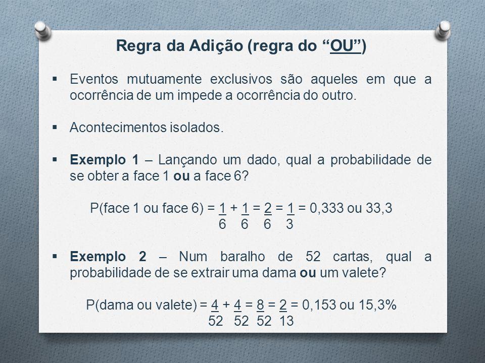 """Regra da Adição (regra do """"OU"""")  Eventos mutuamente exclusivos são aqueles em que a ocorrência de um impede a ocorrência do outro.  Acontecimentos i"""