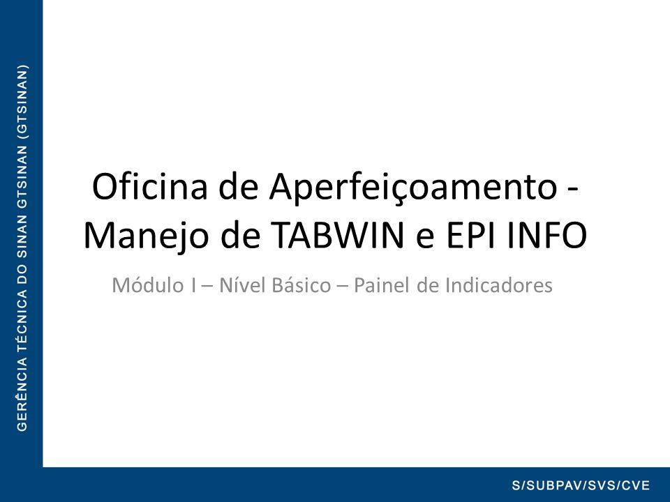 Oficina de Aperfeiçoamento - Manejo de TABWIN e EPI INFO Módulo I – Nível Básico – Painel de Indicadores