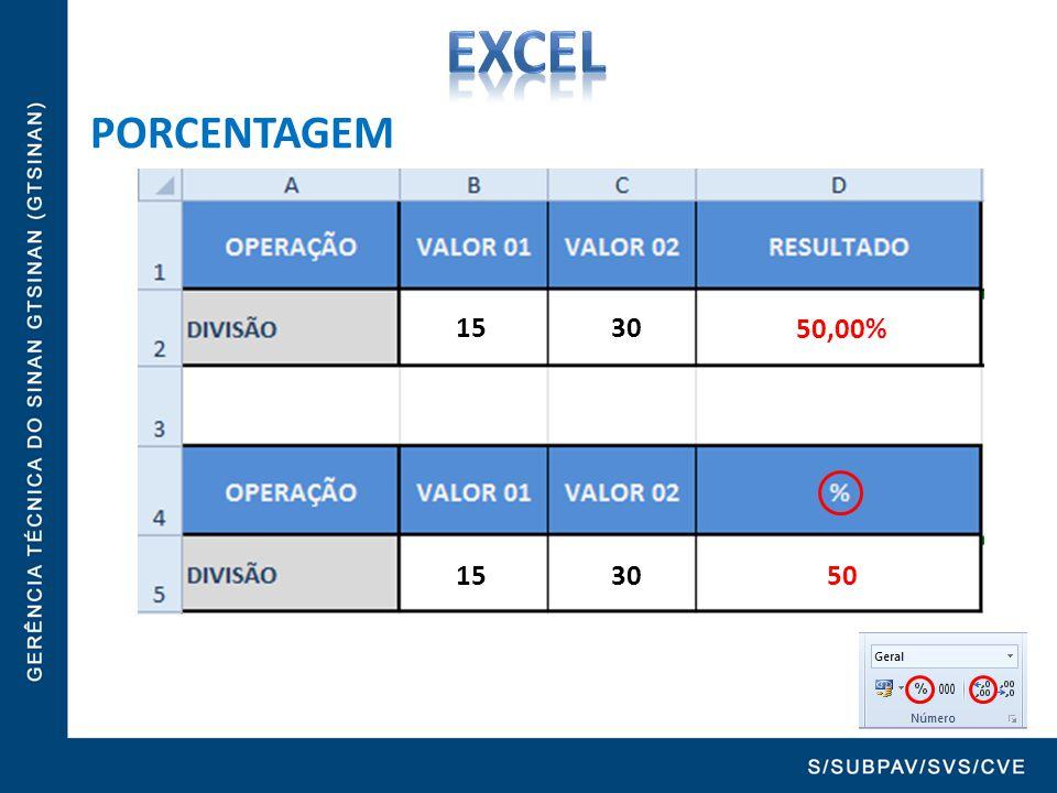 PORCENTAGEM 15 30 = B2 / C2 15 30 = (B2 / C2)*100 0,5 50%50,00% 50