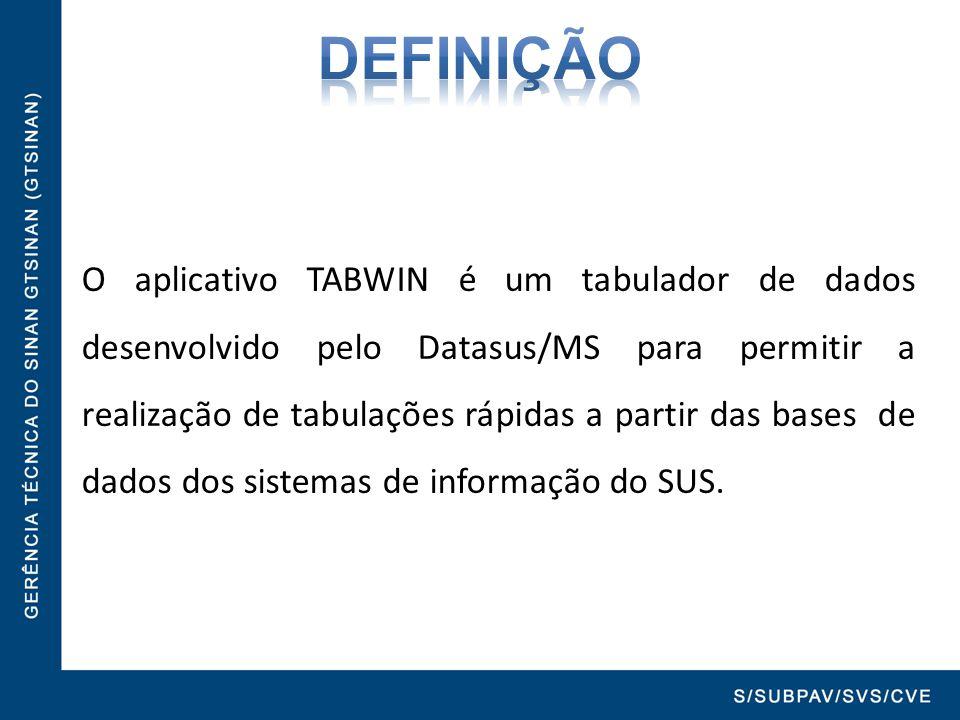 O aplicativo TABWIN é um tabulador de dados desenvolvido pelo Datasus/MS para permitir a realização de tabulações rápidas a partir das bases de dados