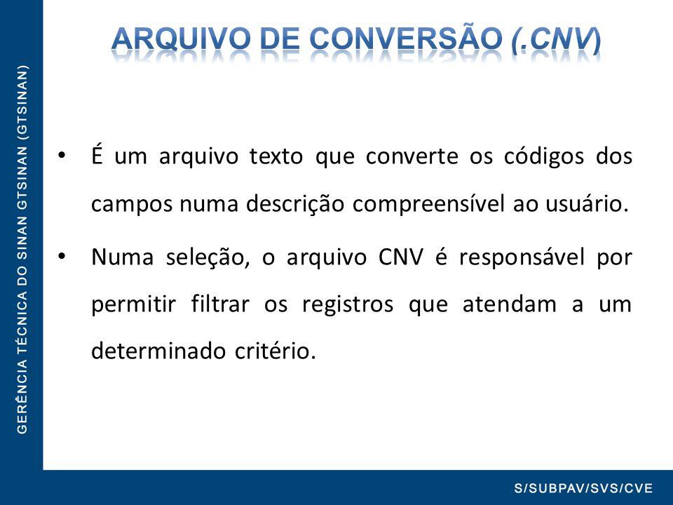 É um arquivo texto que converte os códigos dos campos numa descrição compreensível ao usuário. Numa seleção, o arquivo CNV é responsável por permitir