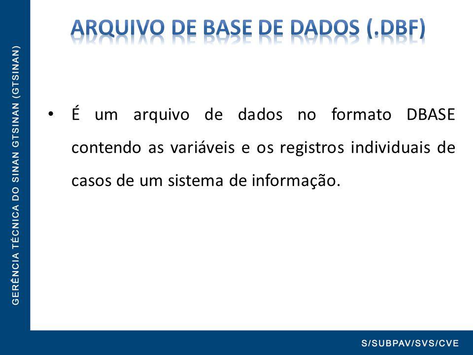 É um arquivo de dados no formato DBASE contendo as variáveis e os registros individuais de casos de um sistema de informação.