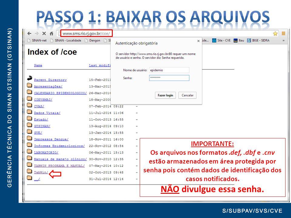 IMPORTANTE: Os arquivos nos formatos.def,.dbf e.cnv estão armazenados em área protegida por senha pois contém dados de identificação dos casos notific