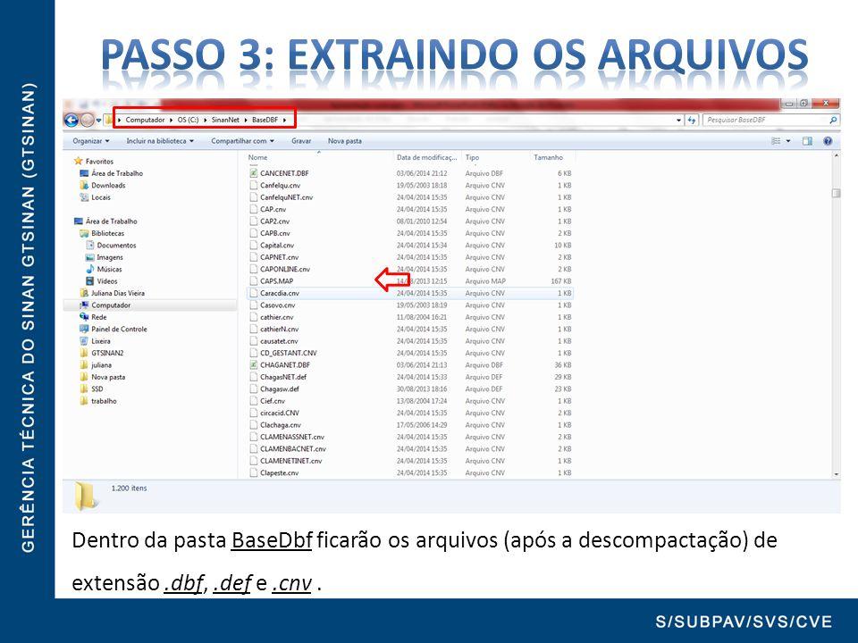 Dentro da pasta BaseDbf ficarão os arquivos (após a descompactação) de extensão.dbf,.def e.cnv.