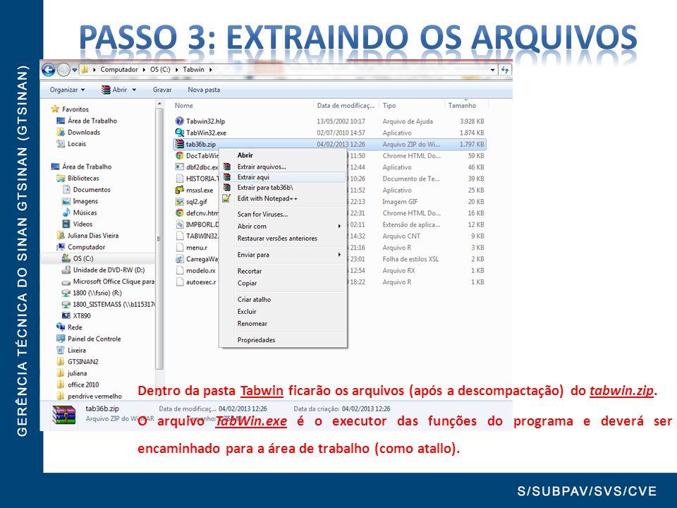 Dentro da pasta Tabwin ficarão os arquivos (após a descompactação) do tabwin.zip. O arquivo TabWin.exe é o executor das funções do programa e deverá s