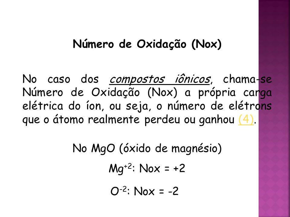 QUÍMICA, 3ª ANO Oxirredução (Regras do Nox) Número de Oxidação (Nox) No caso dos compostos iônicos, chama-se Número de Oxidação (Nox) a própria carga elétrica do íon, ou seja, o número de elétrons que o átomo realmente perdeu ou ganhou (4).(4) No MgO (óxido de magnésio) Mg +2 : Nox = +2 O -2 : Nox = -2