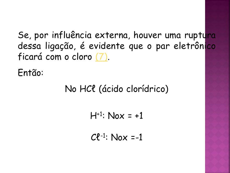 QUÍMICA, 3ª ANO Oxirredução (Regras do Nox) Se, por influência externa, houver uma ruptura dessa ligação, é evidente que o par eletrônico ficará com o cloro (7).(7) Então: No HCℓ (ácido clorídrico) H +1 : Nox = +1 Cℓ -1 : Nox =-1